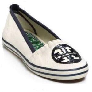 Tory Burch Canvas Cream & Navy Slip-ons